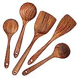 AOOSY Kochutensilien Holz,Küchenhelfer Set Holz,5 Stück Kochutensilien-Set aus Holz im japanischen Stil Kratzfeste Utensilien-Sets einschließlich Holzspatellöffel für Antihaft-Pfannen